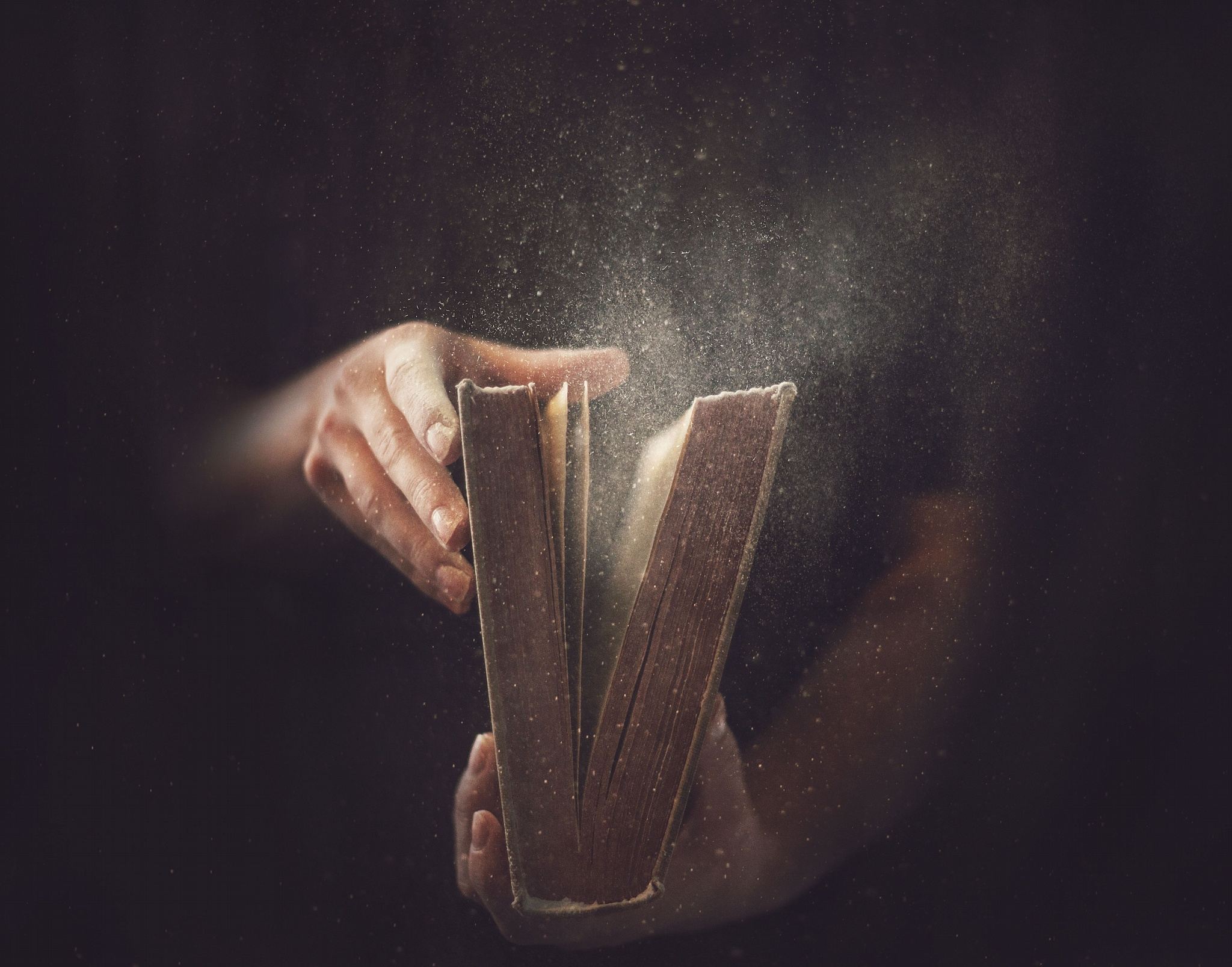 Old Book Hands Dust Desktop Wallpaper